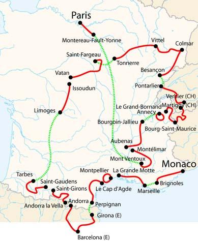Tour de France 2009 Race Course Outline